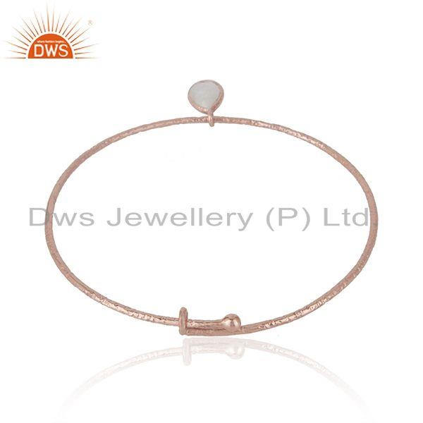 Wholesalers of Rose gold plated textured silver rainbow moonstone bangle jewelry