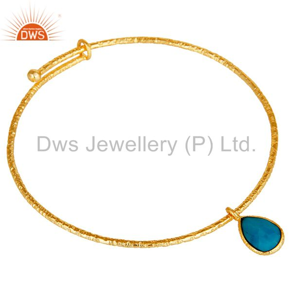 Wholesalers of 18k yellow gold plated 925 silver turquoise openble fashion bangle