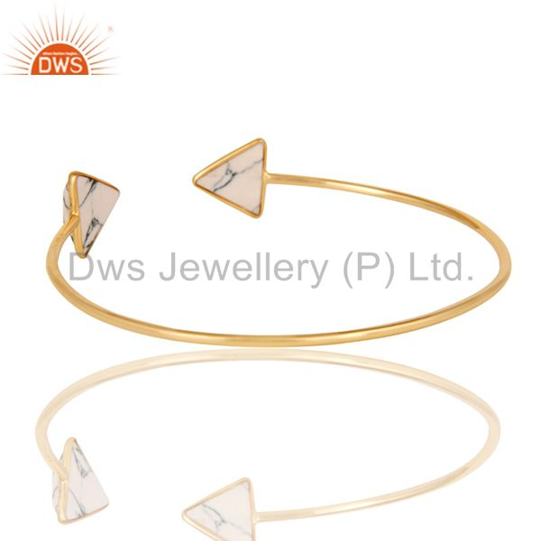 Suppliers 18K Yellow Gold Plated Handmade White Howlite Gemstone Sleek Cuff Jewellery
