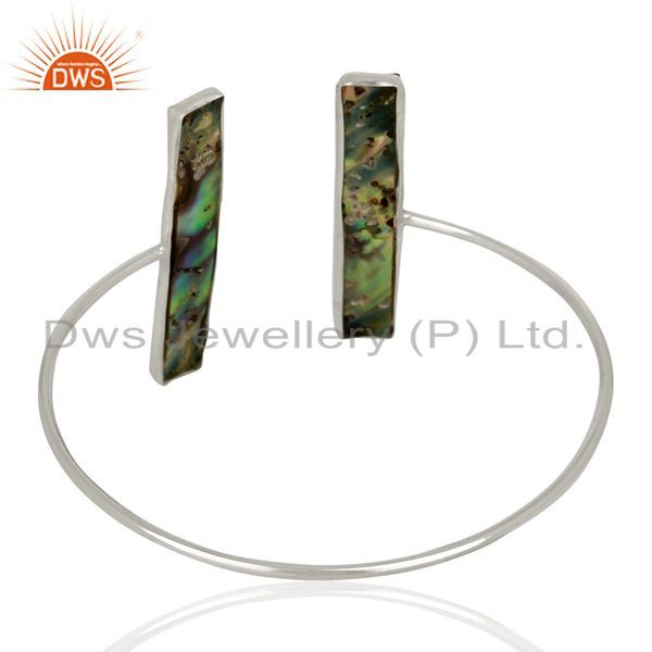 Suppliers Abalone Shell Rectangle 92.5 Sterling Silver Openable Bangle Gemstone Jewellery