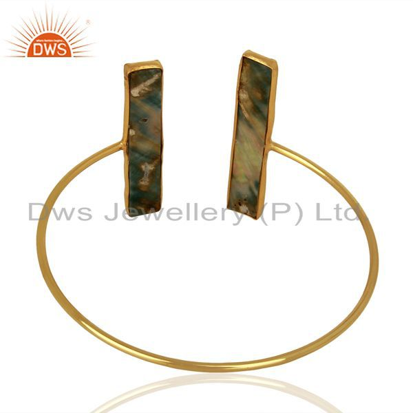 Suppliers Abalone Shell Rectangle 925 Sterling Silver Gold Plated Openable Cuff Jewelry