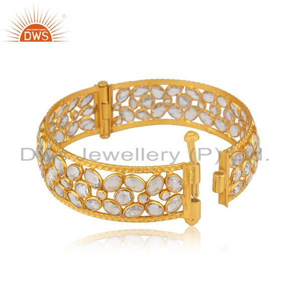 Wholesalers of Cz beaded gemstone 18k gold plated silver openable bangle jewelry