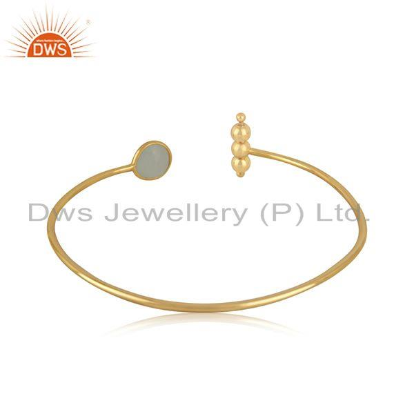 Suppliers Yellow Gold Plated 925 Silver Chalcedony Aqua Gemstone Cuff Bangle Wholesale