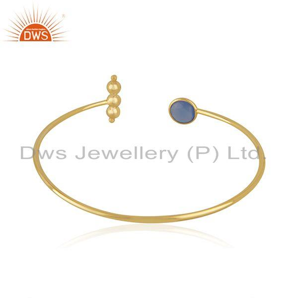 Suppliers Designer Gold Plated Silver Blue Chalcedony Cuff Bangle Jewelry