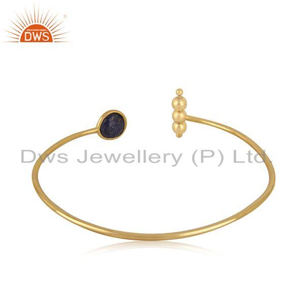 Suppliers Lapis Lazuli Gemstone 925 Silver Gold Plated Cuff Bracelet Manufacturer Jaipur