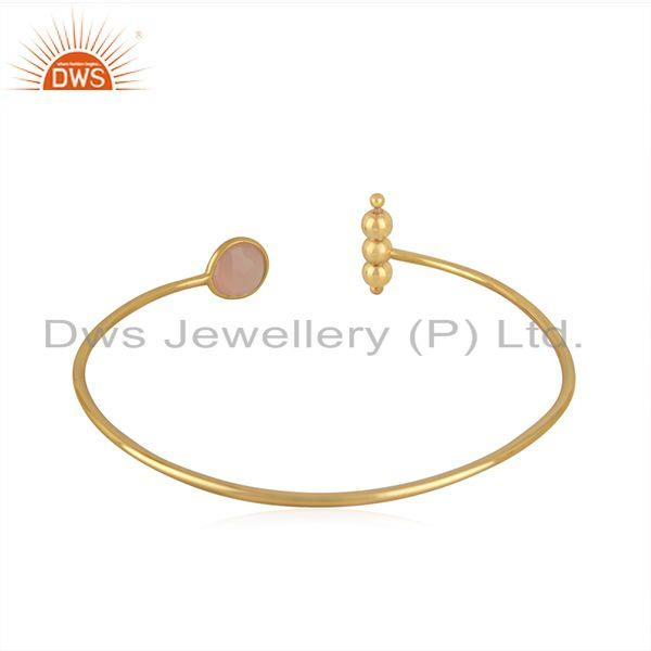Suppliers Rose Chalcedony GEmstone Gold Plated 925 Silver Designer Cuff Bracelet Wholesale