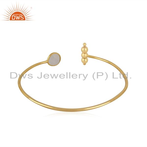 Suppliers Gold Plated Sterling Silver Rainbow Moonstone Cuff Bracelet Manufacturer