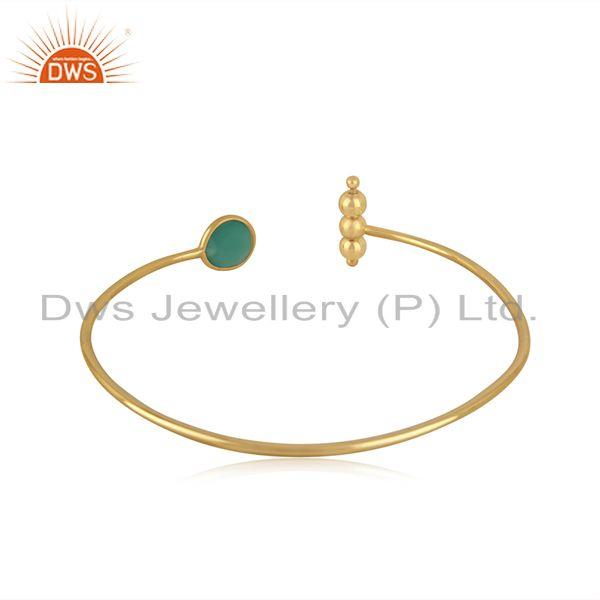 Suppliers Yellow Gold Plated Sterling Silver Designer Green Onyx Gemstone Cuff Bracelet