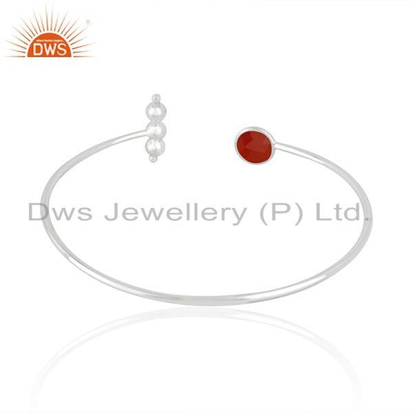 Suppliers Indian Sterling Fine Silver Red Onyx Gemstone Designer Cuff Bangle Jewelry