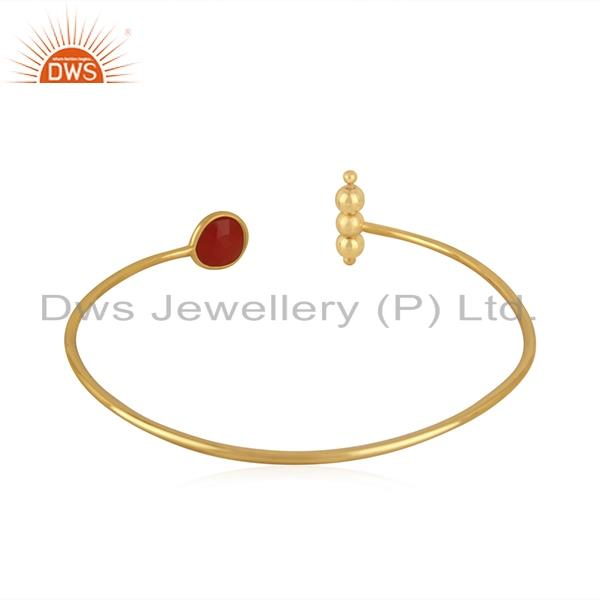 Suppliers Red Onyx Gemstone Gold Plated 925 Silver Cuff Bracelet Suppliers India