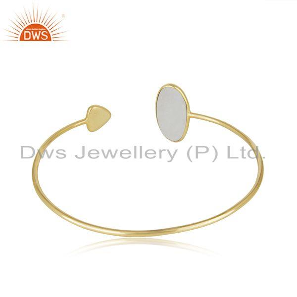 Suppliers Rainbow Moonstone Yellow Gold Plated Sterling Silver Cuff Bracelet