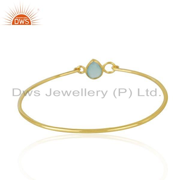 Wholesalers of Aqua chalcedony 18k gold plated 925 silver bangle jewelry for girls