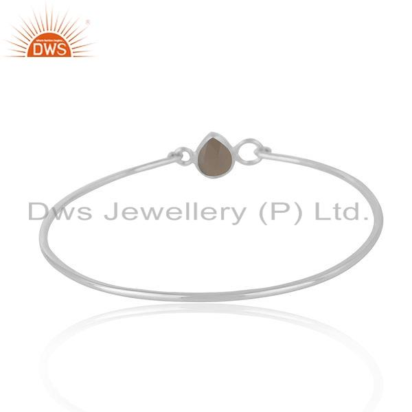 Wholesalers of 925 sterling silver designer gray chalcedony gemstone bangle jewelry