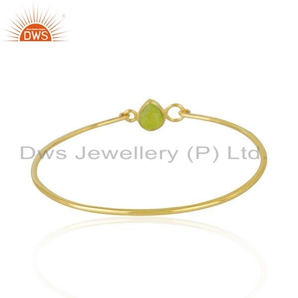 Wholesalers of Natural green chalcedony gemstone gold over silver bangle jewelry