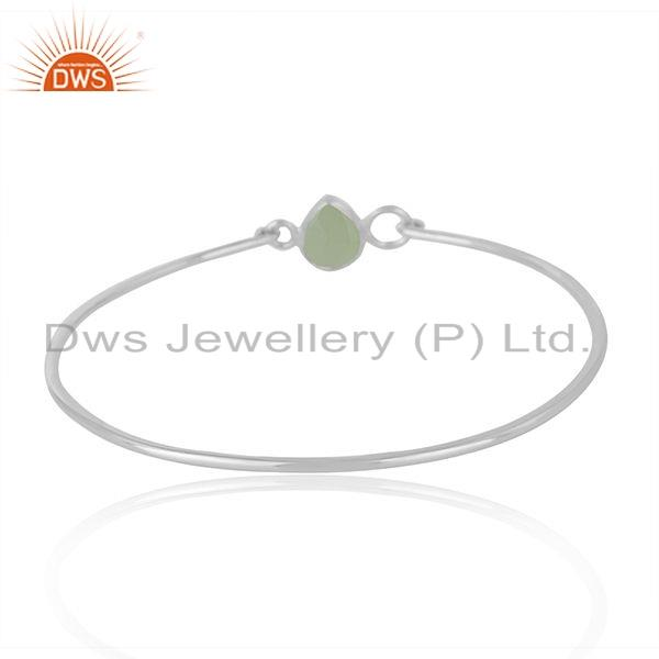 Wholesalers of Prehnite chalcedony natural gemstone 925 fine silver bangle jewelry