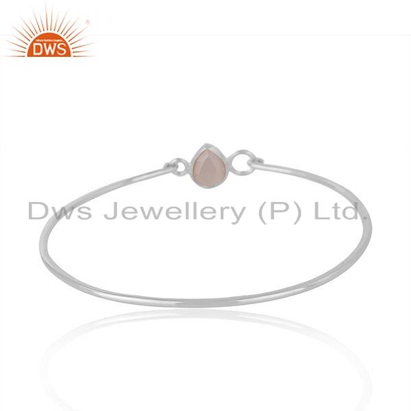 Wholesalers of 925 sterling silver handmade bangle with chalcedony