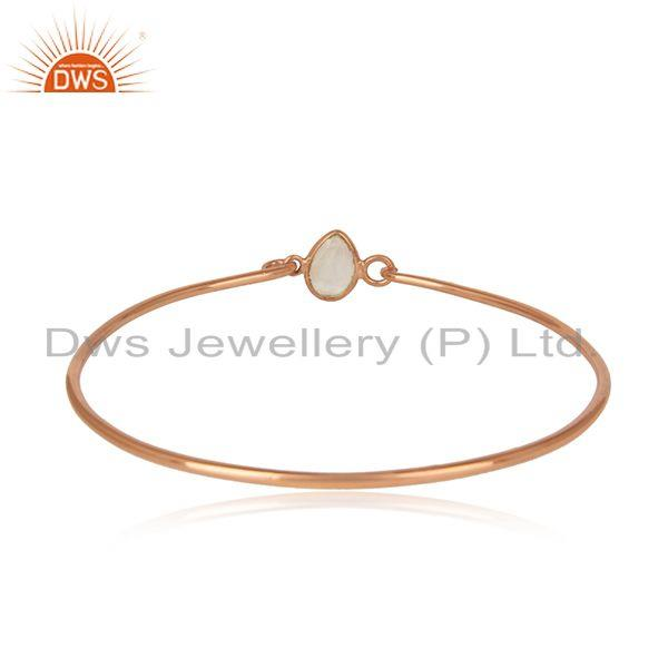Designer of Rainbow moonstone rose gold plated silver 925 openable bangle