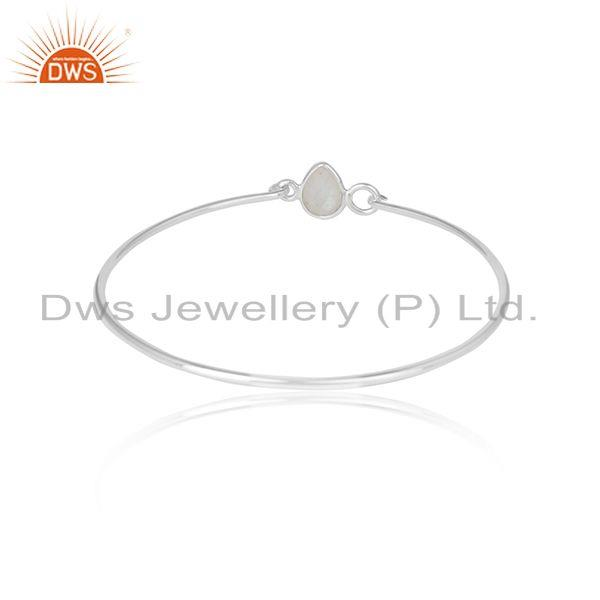 Wholesalers of Pear shape rainbow moonstone sterling fine silver bangle jewelry