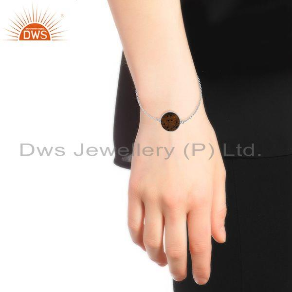 Designer of Tiger eye gemstone round shape gold plated 92.5 silver bracelet