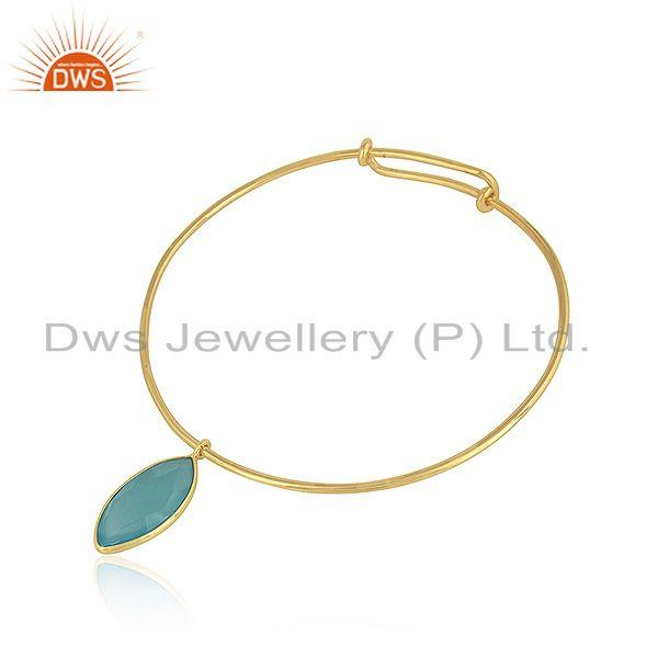 Suppliers Aqua Chalcedony Gemstone Designer 925 Silver Gold Plated Sleek Bangles