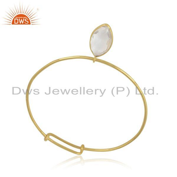 Designer of Crystal quartz gemstone designer gold plated 925 silver bangles