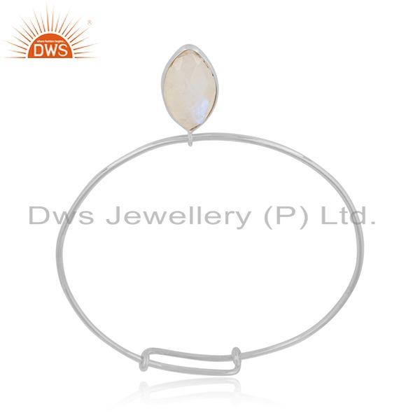 Designer of Rainbow moonstone gemstone designer fine silver bangle jewelry