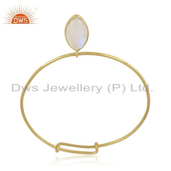 Designer of Rainbow moonstone gemstone 18k gold plated 925 silver bangles