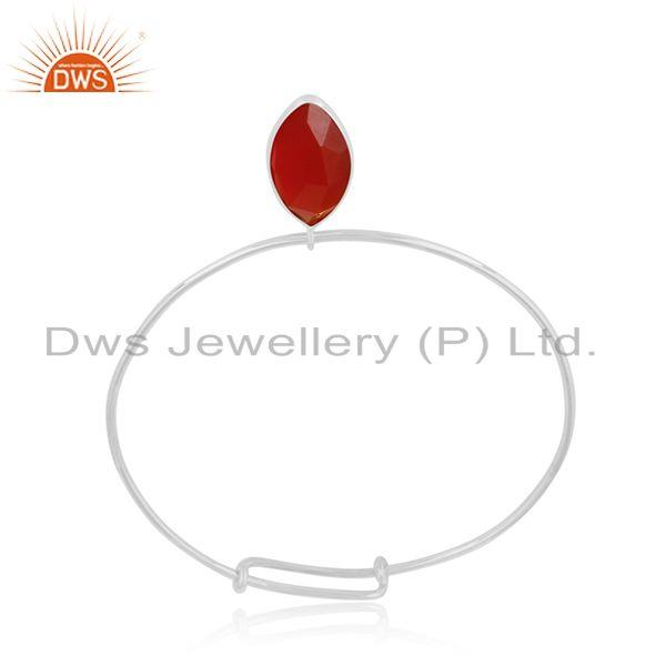 Designer of Red onyx gemstone designer womens sterling silver bangles jewelry