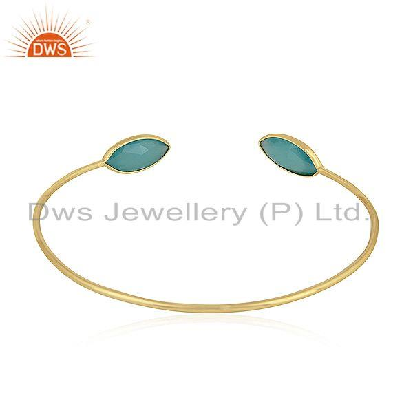 Suppliers Marquise Shape Aqua Chalcedony Gemstone Gold Plated Silver Cuff Bangle