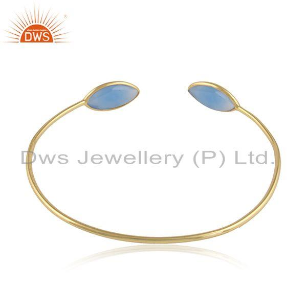 Designer of 18k gold plated 925 silver blue chalcedony gemstone cuff bangles