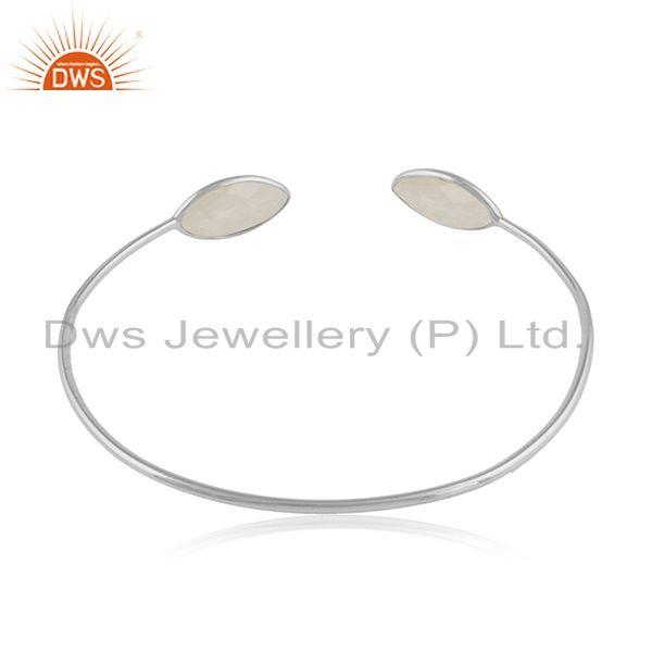 Designer of 925 fine silver rainbow moonstone gemstone cuff bangles jewelry