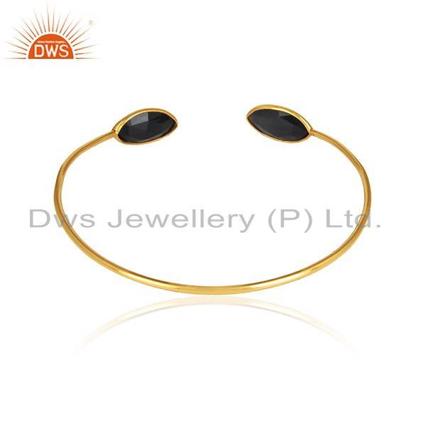 Designer of Black onyx gemstone designer gold plated 925 silver cuff bangles