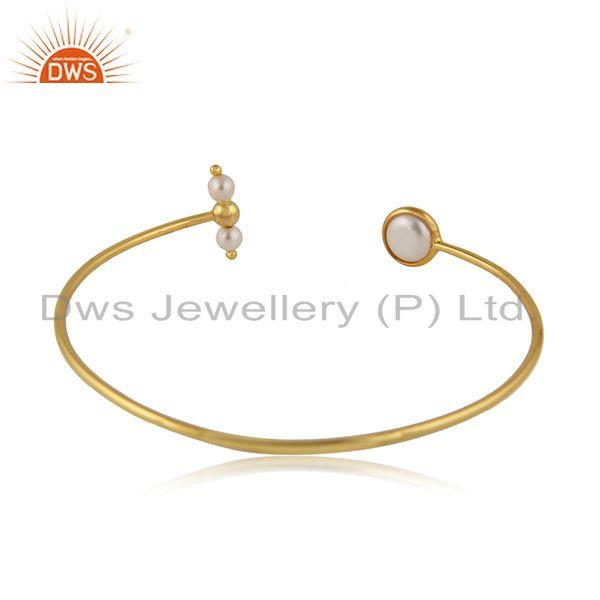 Designer of Handmade gold plated 925 silver natural pearl gemstone cuff bangle