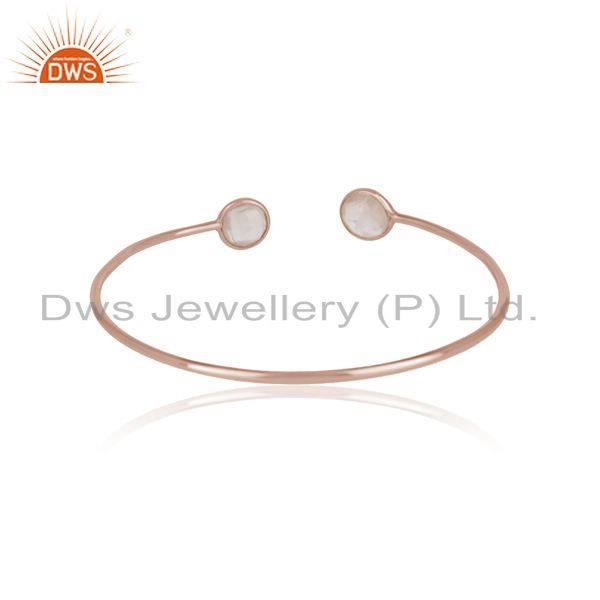 Designer of Handmade silver 925 cuff with rose gold plating and rose quartz