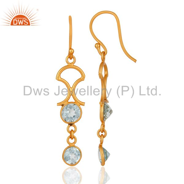 Suppliers Handmade 925 Sterling Silver Blue Topaz Gemstone Earring With 22K Gold Plated