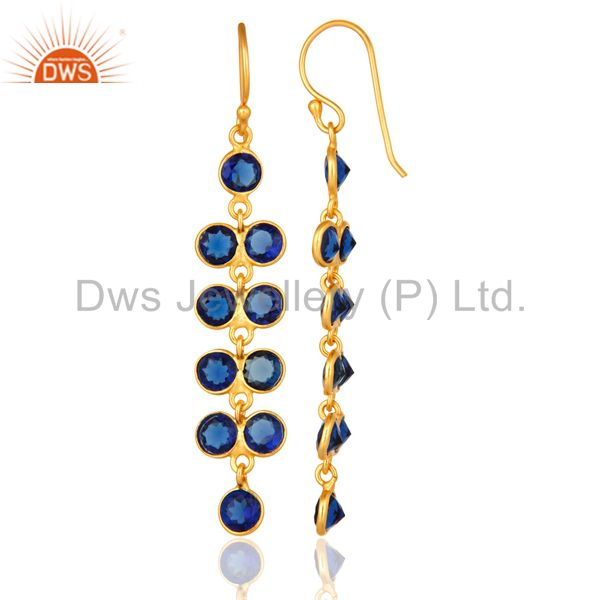 Suppliers Gold Plated Sterling Silver Round Cut Blue Corundum Bezel Set Dangle Earrings