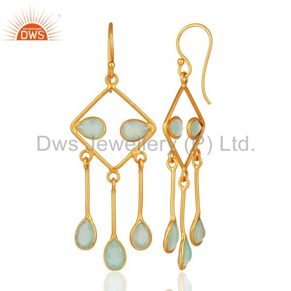 Suppliers Handmade 925 Sterling Silver Aqua Blue Glass Chandelier Earrings With Gold Verme
