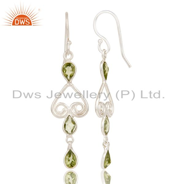 Suppliers Mothers Day Gifts Handmade Solid 925 Sterling Silver Peridot Gemstone Earrings