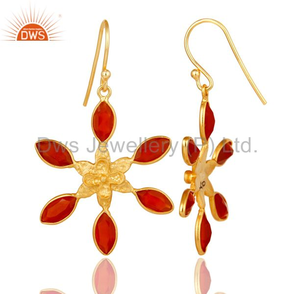 Suppliers 18K Gold Plated Sterling Silver Handmade Red Onyx Gemstone Bezel Set Earrings