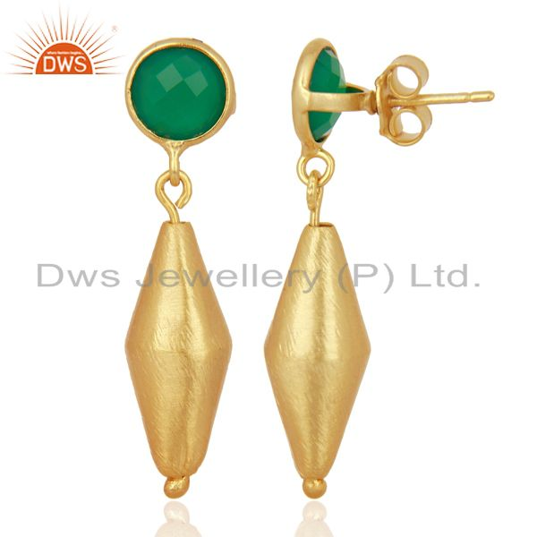 Suppliers 24K Matte Gold Plated Sterling Silver Green Onyx Designer Dangle Earrings