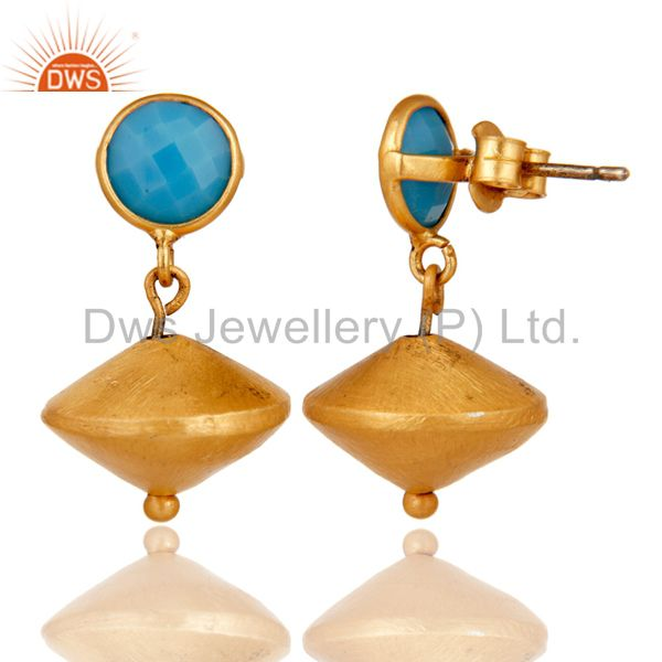 Suppliers Turquoise Cultured 24K Yellow Gold Plated Sterling Silver Matte Dangle Earrings