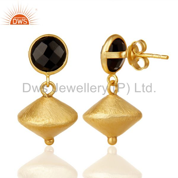 Suppliers Black Onyx Post Stud Gold Plated 92.5 Sterling Silver Bead Hanging Earring