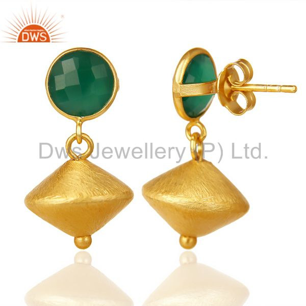 Suppliers Green Onyx Post Stud Gold Plated 92.5 Sterling Silver Bead Hanging Earring