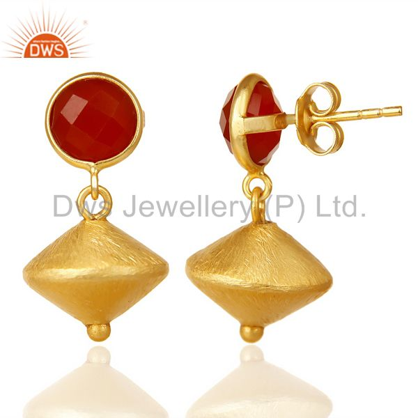 Suppliers Red Onyx Post Stud Gold Plated 92.5 Sterling Silver Bead Hanging Earring