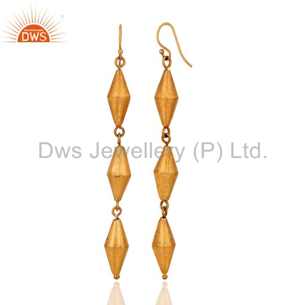 Suppliers 100% Solid 925 Sterling Silver Hand made 24K Yellow Gold Plated Dangle Earrings