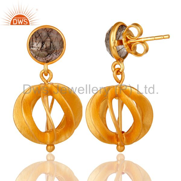 Suppliers Black Rutile 24K Yellow Gold Plated Sterling Silver Designer Dangle Earrings