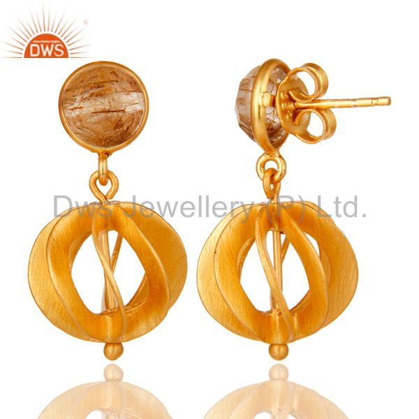 Suppliers 24K Yellow Gold Plated Sterling Silver Yellow Rutile Designer Dangle Earring