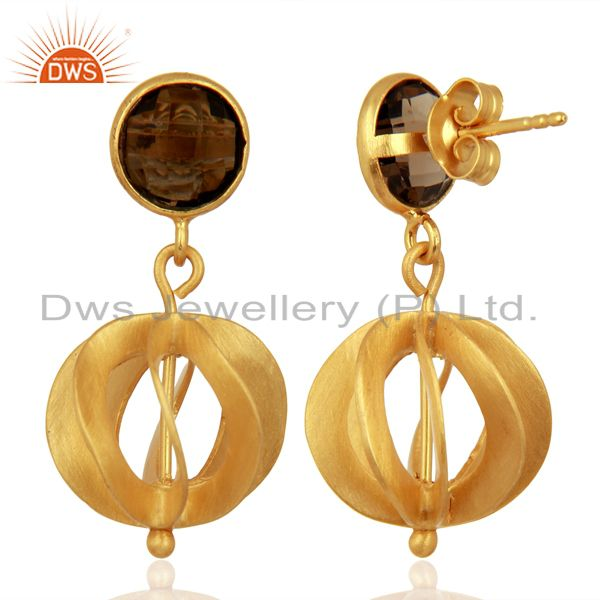 24K Yellow Gold Plated Silver Smoky Quartz Designer Dangle Earrings Supplier India