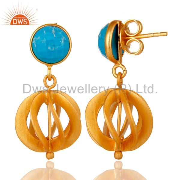 Suppliers Turquoise 24K Yellow Gold Plated Sterling Silver Designer Dangle Earring