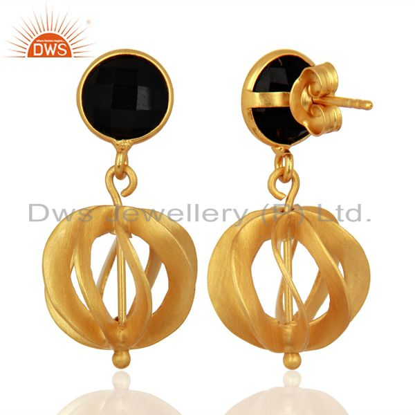 Suppliers Black Onyx Gemstone Filigree Ball Sterling Silver 18k Gold Plated Dangle Earring